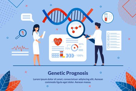 Flat Banner Inscription Geneticist Prognosis. Genetic Diagnosis to Determine Persons Predisposition to Certain Diseases. Man and Woman in Laboratory Conduct Research with Genetic Code.