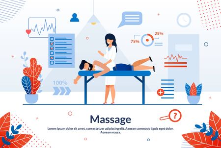 Bright Flyer Inscription Massage Cartoon Flat. Banner Disease Prevention Attracts Healthy People to Medical Examinations. Female Doctor Gives Healing Massage to Man. Vector Illustration.