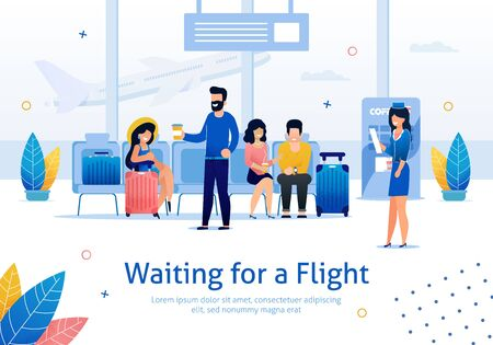 Airline Company, Flights Planning, Airplane Tickets Booking Online Service Trendy Flat Vector Advertising Banner, Poster Template. Female and Male Tourists Waiting for Flight in Airport Illustration  イラスト・ベクター素材