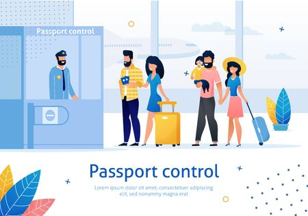 Airline Company, Travel Agency, Airport Services Trendy Flat Vector Ad Banner, Poster. Airline Clients, Airplane Passengers with Luggage, Passing Passport Control Before Boarding on Plane Illustration