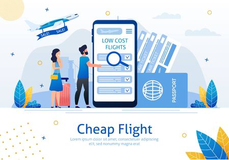 Cheap Flights, Airline Sale Search Mobile App, Airplane Tickets Booking Service Trendy Flat Vector Ad Banner, Poster. Couple with Baggage Searching Low Cost Flights on Cellphone Screen Illustration