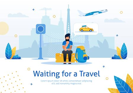 Waiting for Travel, Navigation, Voyage Planning, Tickets Booking Online Service Trendy Flat Vector Advertising Banner, Promo Poster. Pensive Man Sitting on Baggage While Waiting Taxi Illustration  イラスト・ベクター素材