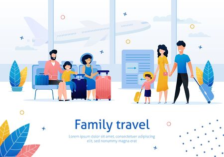 Family Travel, Airline Company, Airplane Tickets Booking Service Trendy Flat Vector Advertising Banner, Promo Poster Template. Couples with Children Waiting for Flight in Airport Lounge Illustration