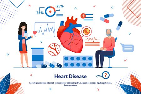 Informative Flyer Inscription Heart Disease Flat. Detailed Study Structure and Functioning Organs and Systems. An Elderly Man Examines Heart in Doctors Office, Selecting Medicines.  イラスト・ベクター素材