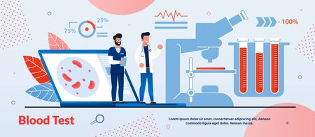 Bright Banner Inscription Blood Test Concept Cartoon. Study is not Accompanied by Strong Discomfort for Subject. Laboratory Men are Standing on Laptop, Next to Microscope and Instruments for Research.