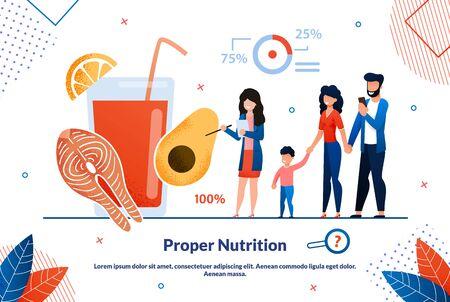 Advertising Banner Proper Nutriton Lettering. Long-term Goals Public Health Development Program. Nutritionist Explains to Parents and Children Benefits Healthy Diet. Vector Illustration. Ilustração