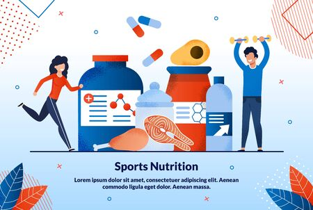 Advertising Poster Sports Nutrition Lettering. Healthy Nutrition for Internal and External Changes in Body. Man and Woman go in for Sports and Eat Right. Balanced Sports Nutrition.