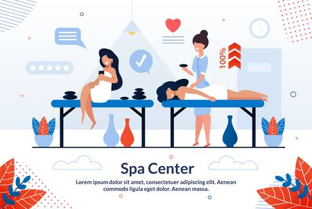 Informative Banner Inscription Spa Center Flat. Disease Prevention Promotes Provision Preventive Health Services. Happy Girls Undergo Spa Treatments in Specialized Salon. Vector Illustration.