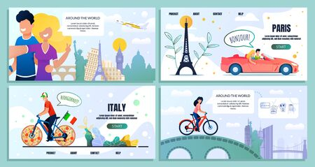 Travel Around World Website Bundle Landing Page. Set Vector Illustration Traveling People. Guy, Girl, Selfie, Famous Landmarks. Journey, Red Car, Eiffel Tower, Bike, Italy, Flag, Pizza Wheels, Bridge