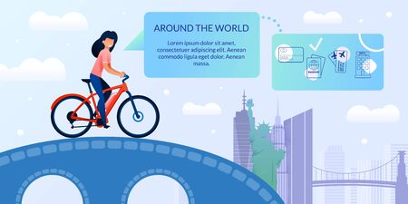 Bicycle Trip Around World Vector Landing Web Page. Girl Rides Bicycle, Bridge, Background Famous World Landmarks. Vector Banner. Website Online Travel Help, Visiting other Countries