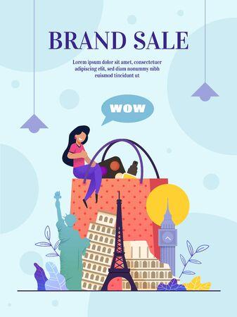 Website Brand Sale Online Store, Landing Web Page. Vector Banner, Poster Admiring Girl, Customer, Sitting Shopping Bag, Cosmetic, Perfume. Famous World Landmarks. Flat Illustration Cartoon Style