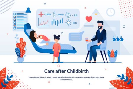 Bright Poster Inscription Care After Childbirth. Beneficial Effects are Observed Traditional Medicine. Mother Lying on Bed with Newborn Baby, Father is Sitting Next Him. Vector Illustration.