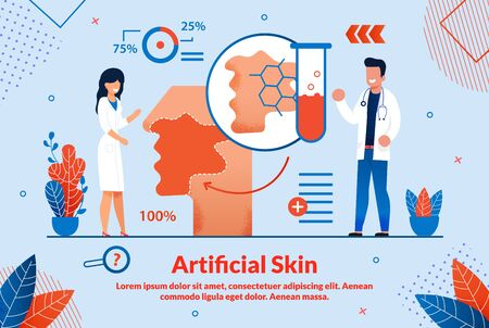 Informative Banner is Written Artificial Skin. Advances in Medicine are Driven by Many Factors. Male and Female Doctors do Tests and Studies. Correct Diagnosis. Vector Illustration.