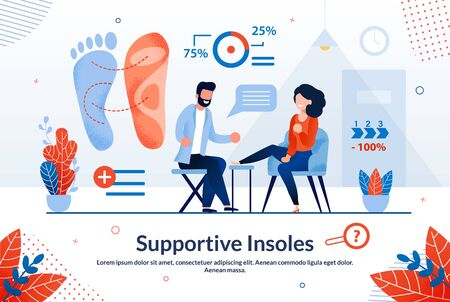 Informational Banner is Written Supportive Insoles. Painless and Safe Health Research Procedure. Man Sits on Chair and does Foot Massage to Young Woman Cartoon. Vector Illustration.