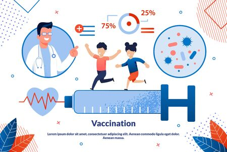 Bright Banner Inscription Vaccination Cartoon. Wide Format Research Provided and Guarantees Absolute Accuracy Results. Happy Children Run on Large Syringe, Doctor Looks at Them. Vector Illustration. Иллюстрация