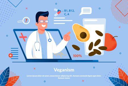 Affiche d'information Inscription Veganism Flat. Moyens de prévenir de nombreuses maladies infectieuses. Un nutritionniste à partir d'un écran d'ordinateur portable explique la valeur des vitamines dans les fruits et légumes. Illustration vectorielle. Vecteurs