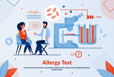 Informative Banner Allergy Test Lettering Flat. Treatment or Restoration Body Function. Female Patient Complaining Allergy to Doctor. Equipment for Medical Tests. Vector Illustration. Illusztráció
