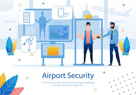 Airline Company, Startup for Travelers, Airport Security Service Trendy Flat Vector Advertising Banner, Poster Template. Man Passing Through Baggage Screening Area, Metal Detector Ramp Illustration