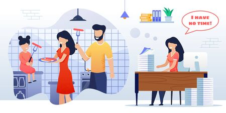 Flat Vector Illustration Happy Family Cook Kitchen. Mother, Father and Little Daughter Together Cook Food, Sausages, Meal Preparing Appliances, Home. Work, Woman Worries Not Have Time Homework