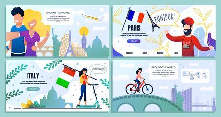 Travel Blog Set, Bundle Landing Web Page Banner. Vector Guy, Girl Take Selfie Famous Landmarks, Plane. Man Paris, Eiffel Tower, France Flag. Girl, Scooter, Italy Flag. Girl Rides Bicycle Ilustracja