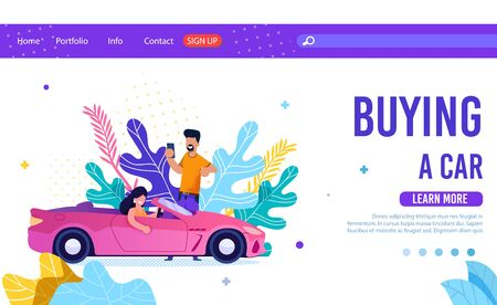 Online Service for Buying Car Flat Landing Page. Cartoon Woman Riding New Car and Man Holding Phone Using Application for Searching Automobile. Vector Illustration in Trendy Foliage Design Çizim