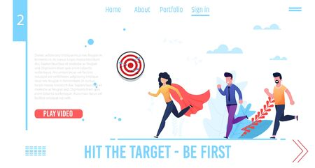 Motivation Landing Page for Video Business Courses, Coaching, Training. Hit Target and Be First. Cartoon Woman in Super Hero Red Cloak and Two Men Running after Characters. Vector Flat Illustration