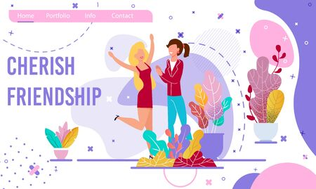 Cherish Friendship Motivational Trendy Flat Landing Page. Cartoon Young Woman Characters Supporting each other, Rejoicing Success. Female People Enjoying Communication. Vector Illustration 일러스트