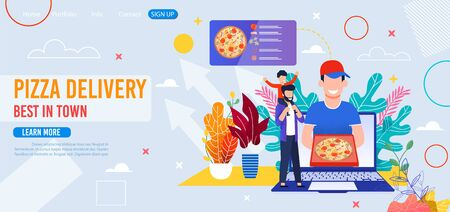 Landing Page for Fast Food Restaurant Offer Pizza. Cartoon Smiling Courier Holding Box with Order on Laptop Screen. Tiny Father with Kid on Shoulders. Ingredients for Cooking Menu. Vector Illustration  イラスト・ベクター素材