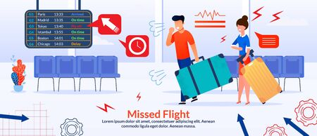 Missed Flight Poster with Cartoon Angry Frustrated Passengers, Confused Mad Man and Woman with Baggage. Difficulties and Problems in Travel. Stressful Situation in Airport. Vector Flat Illustration