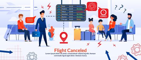 Cartoon Businessman or Manager, Passengers Characters at Airport Angry over Flight Cancellation Poster. Passage Delayed, Postponed, Canceled. Upset, Disappointed People. Vector Flat Illustration