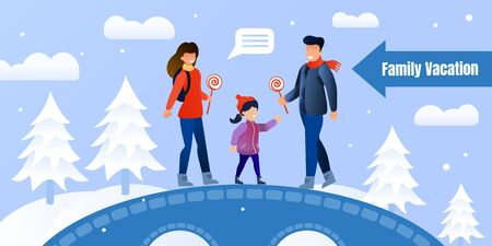 Happy Family Winter Activities Invitation Poster. Hiking, Walking, Camping in Forest. Cartoon Father, Mother and Daughter Standing on Bridge and Eating Lollypops. Vector Flat Illustration 일러스트