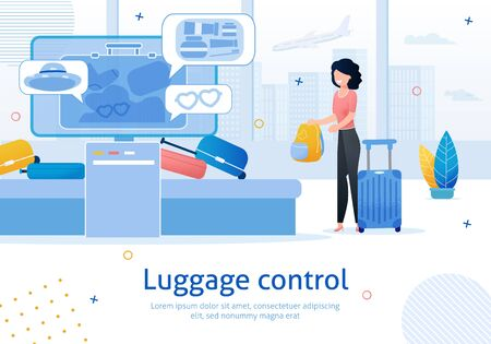 Airline Company, Airport Luggage Control Service Trendy Flat Vector Advertising Banner, Promo Poster Template. Female Tourist, Traveling Woman Loading Bags in Luggage Screening Terminal Illustration