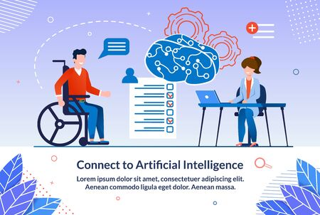 Bright Poster Connect to Artificial Intelligence. Teachers Conduct Training for those who Wish to Develop. Man on Wheelchair Listens to Doctor and Passes Test. Vector Illustration.