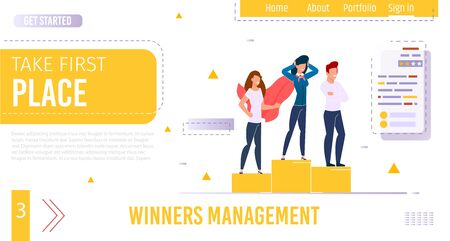 Flat Landing Page Giving Idea for Achieve Success. Training Services, Online Courses Coaching Secrets to Take First Place. Successful Targeting, Development, Management, Marketing. Vector Illustration