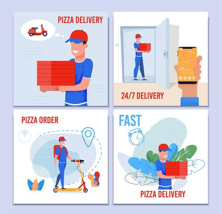 Round the Clock Pizza Fast Delivery Service Set. Cartoon Man Courier with Cupboard Box Using Eco-Friendly High Speed Electric Scooter or Moped for Conveyance. Mobile App for Order. Vector Illustration