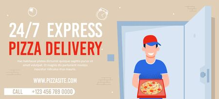 Round-the-Clock Express Pizza Delivery Advert. Flat Banner with Contacts and Internet Food Service Site. Cartoon Happy Smiling Courier Man Character Handing Open Box on Doorway. Vector Illustration