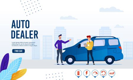 Webpage Banner Advertising Modern Auto Dealer Online Service. Find Ecological Green Electric Car for Purchase, Sharing or Rent. Cartoon Customer and Salesman Agent Agreement. Vector Flat Illustration