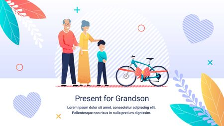 Bright Poster Inscription Present for Grandson. Happy Joyful Grandmother and Grandfather Give Grandson Bicycle. Gift is Decorated with Ribbon with Bow. Boy Rejoices at his Gift.  People on Outdoors.  イラスト・ベクター素材