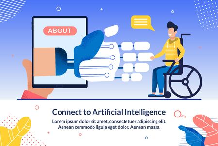 Prompt Banner Connect to Artifwcial Intelligence. Artificial Intelligence Saves Time and is Great for Staff Training. From Smartphone Screen, an Artificial Hand Reaches for Man with Disability.  イラスト・ベクター素材