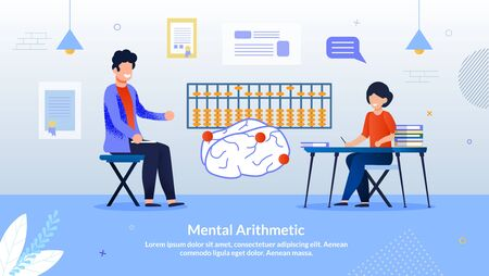 Advertising Flyer Inscription Mental Arithmetic. Developing Courses Practice Elements Game Format. Childhood, Classes are Useful. Tutor Teaches Girl to Develop Mathematical Capabilities Brain.  イラスト・ベクター素材