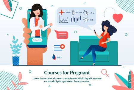 Informative Banner Courses for Pregnant Cartoon. Maternity Courses Promote Natural Parenthood. On Screen Smartphone, Woman Doctor gives Consultation to Pregnant Woman. Vector Illustration.