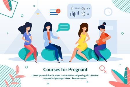 Bright Poster Inscription Courses for Pregnant. Maximum Immersion in Preparation for Childbirth in an Intense Rhythm. Expectant Mothers Sit on Training Balls Indoors and Listen to Doctor.