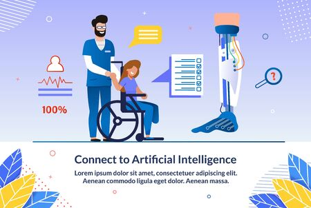 Invitation Connect to Artificial Intelligence. Male Doctor Shakes Hands with Disabled Woman who is Sitting in Wheelchair. Person in Wheelchair Needs Help and Support. Vector Illustration.  イラスト・ベクター素材