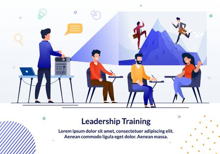 Informational Banner Written Leadership Training. Experienced Teachers Quickly and Efficiently Convey Practical Experience, In-depth Knowledge and Secrets Excellence. Vector Illustration.  イラスト・ベクター素材