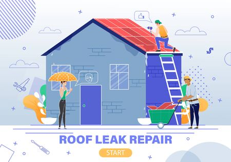 House Emergency Repair Service Flat Vector Web Banner, Landing Page with Female House Owner, Construction Company Client, Woman Waiting for Roof Leaking Repair Finishing by Workers Team Illustration  イラスト・ベクター素材