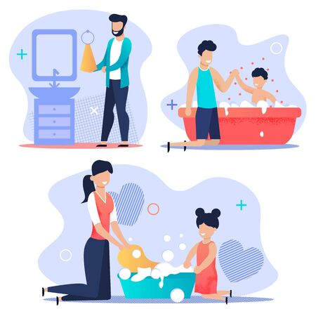Advertising Banner Set Family Clean House, Flat. Joyful Father Bathes His Son. Cheerful Baby in Bath with Foam. Happy Mom Washes with her Daughter. Contented Girl Helps Parents. Vector Illustration.