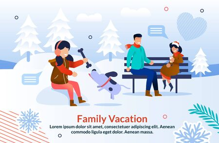 Happy Winter Time with Family Inspiration Poster. Cheerful Daughter Playing Bone with Dog while Father and Mother Chatting Drinking Coffee Sit on Bench in Snowy Park. Vector Flat Illustration Ilustração
