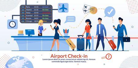 Cartel plano de la recepción del check-in del aeropuerto de la compañía aérea y de la cola de los turistas. Pasajeros con equipaje y boleto de avión en el mostrador de reserva de vuelos con tablero de salidas. Ilustración de dibujos animados de vector
