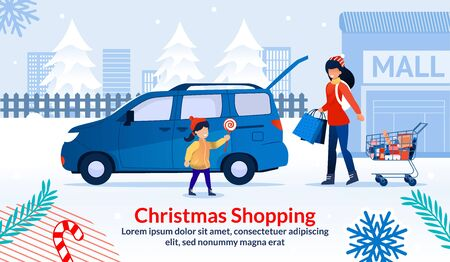 Christmas Shopping during Sale at Shop Mall Poster. Mother and Daughter after Visit Supermarket. Mom Hold Trolley Cart with Groceries, Gifts Bags. Girl with Lollypop near Car. Vector Illustration Illustration