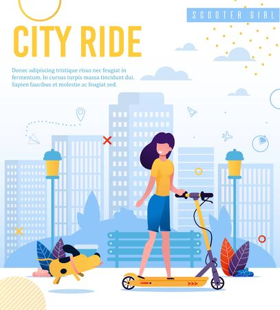 Banner Advertising Active Lifestyle, Eco Vehicle. City Ride Lettering. Cartoon Scooter Girl Walking on Electric Eco-Friendly Transport. Urban Park with City Building Skyline. Vector Flat Illustration Ilustração